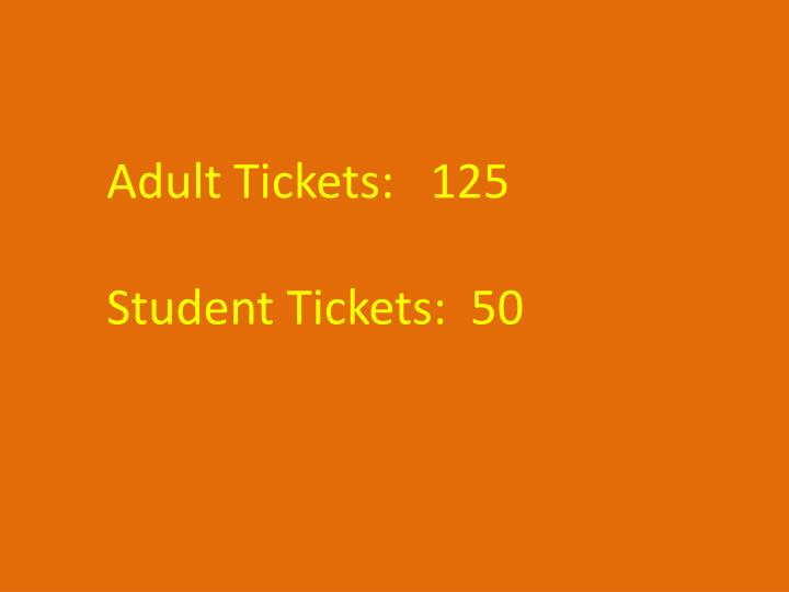 Adult Tickets:   125