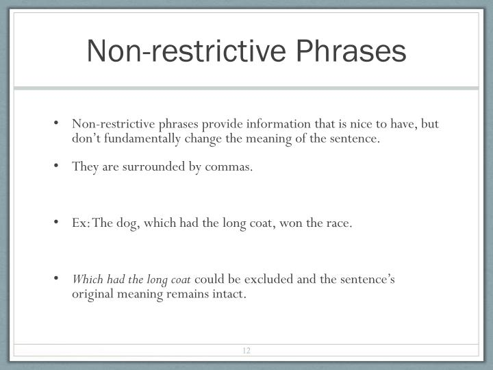 Non-restrictive Phrases