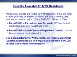 credits available to nys residents