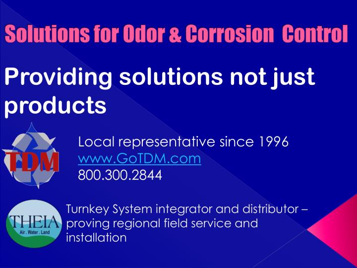 solutions for odor corrosion control n.