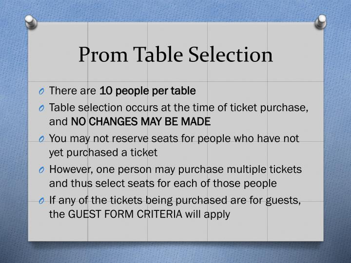 Prom Table Selection