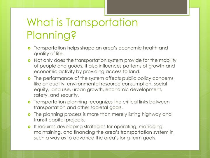What is transportation planning1
