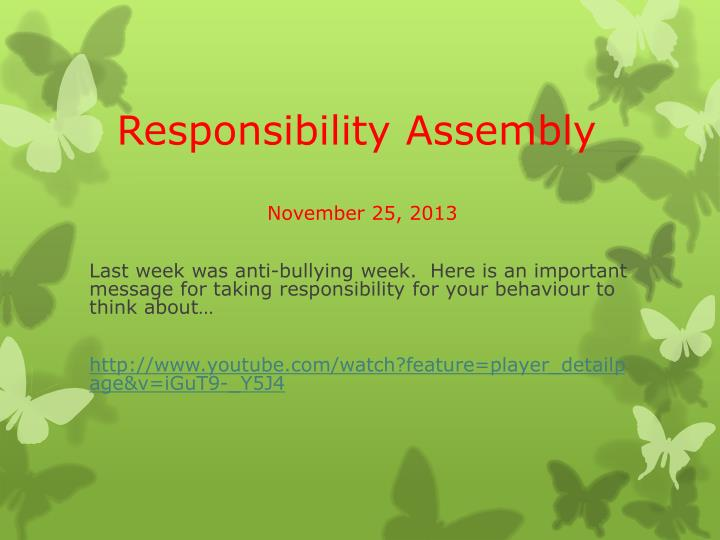 responsibility assembly n.