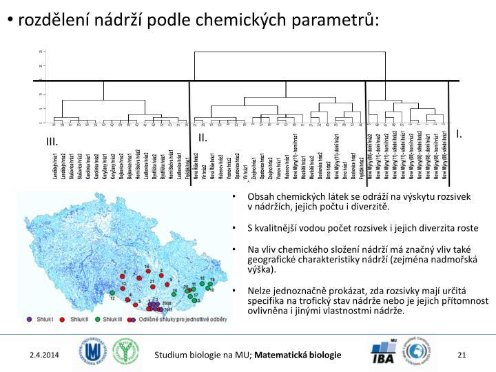 rozdělení nádrží podle chemických parametrů: