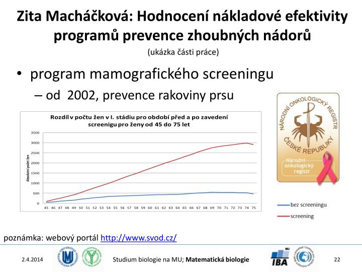 Zita Macháčková: Hodnocení nákladové efektivity programů prevence zhoubných nádorů