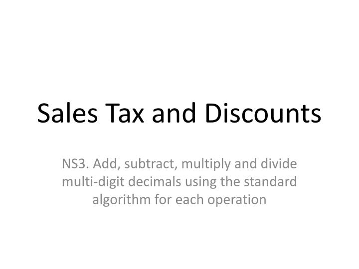 sales tax and discounts n.