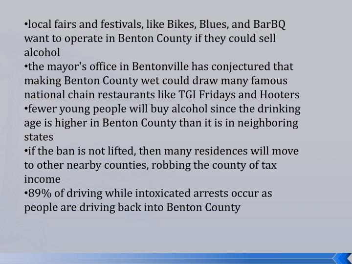 local fairs and festivals, like Bikes, Blues, and