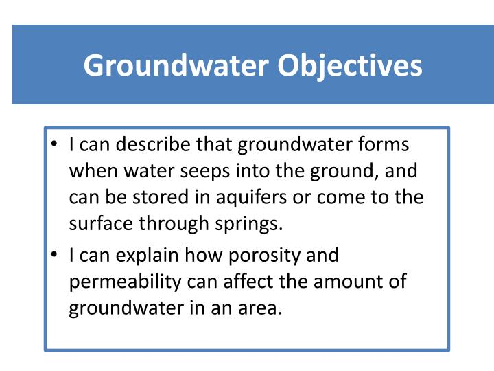 groundwater objectives n.