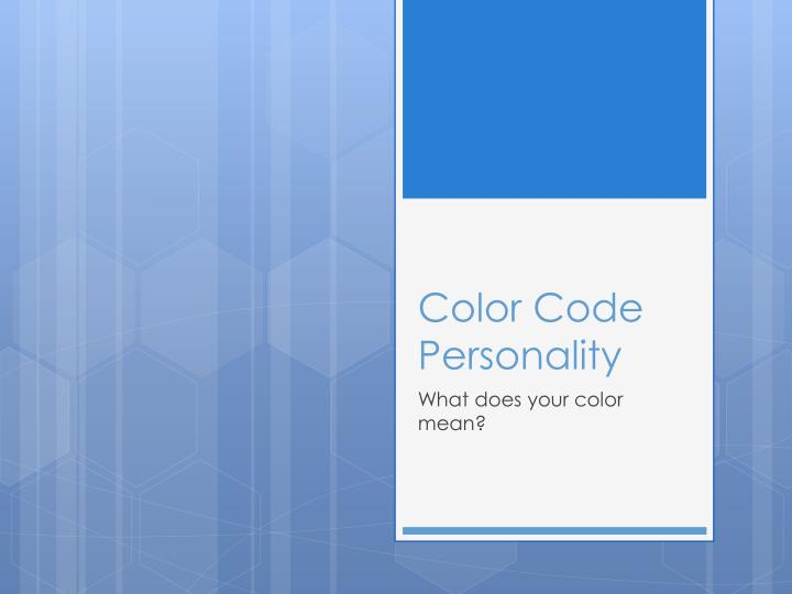 color code personality n.
