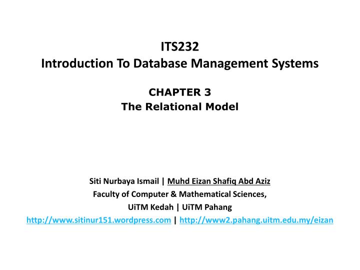 its232 introduction to database management systems n.