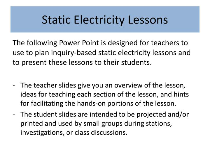 static electricity lessons n.