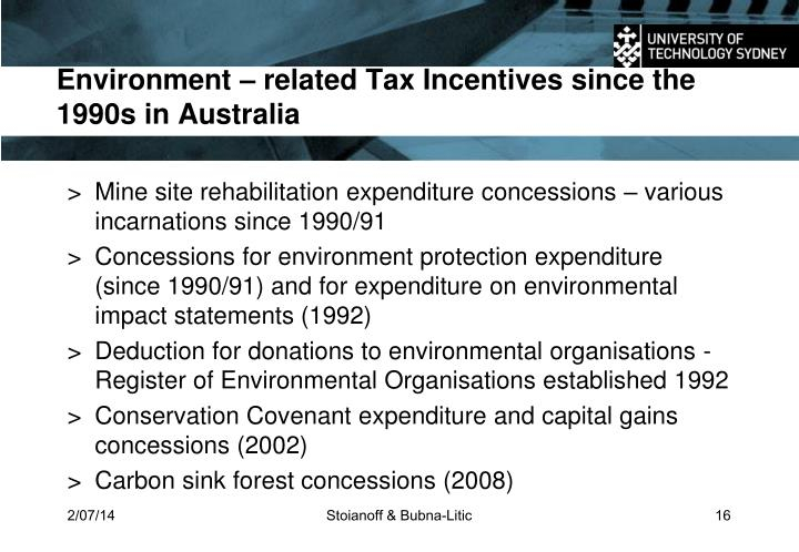Environment – related Tax Incentives since the 1990s in Australia