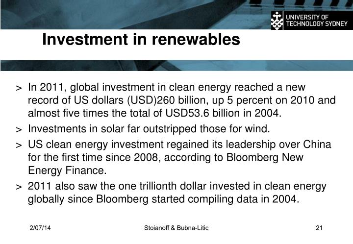 Investment in renewables