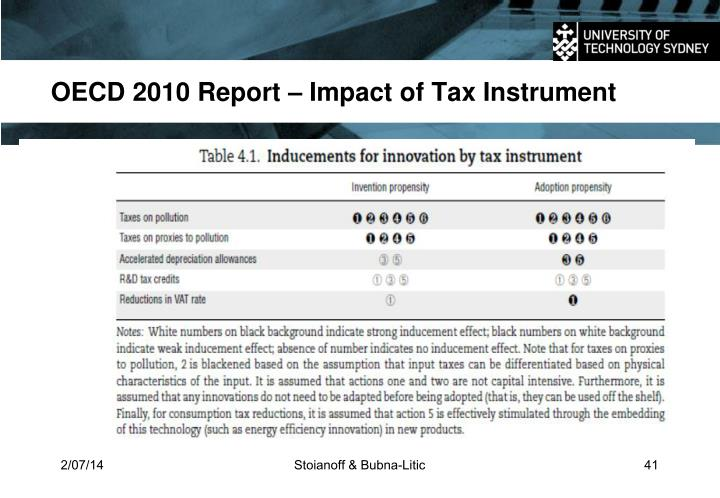 OECD 2010 Report – Impact of Tax Instrument