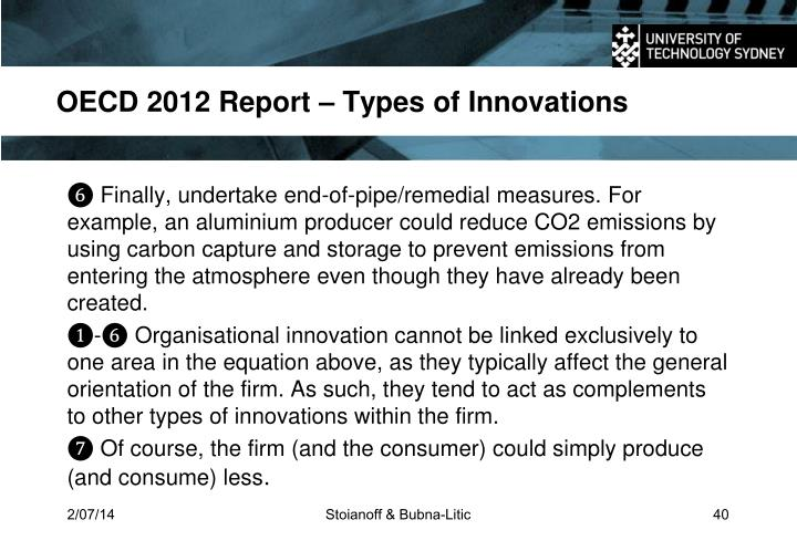 OECD 2012 Report – Types of Innovations