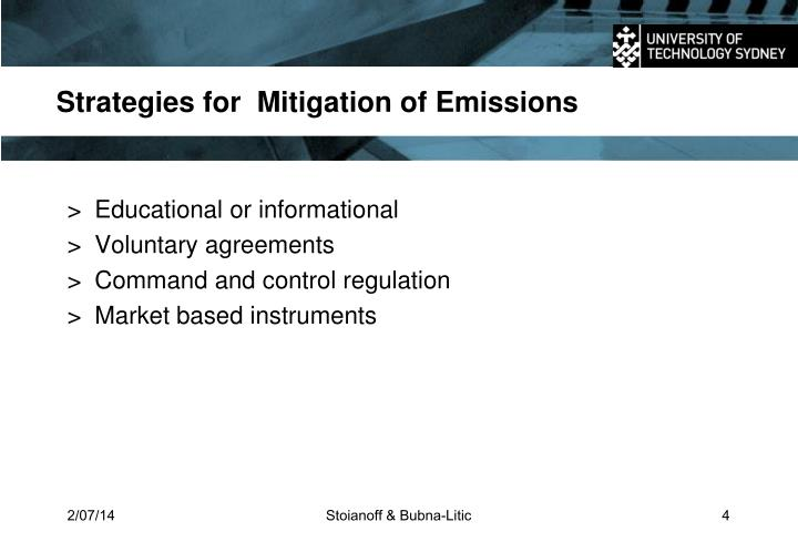 Strategies for  Mitigation of Emissions