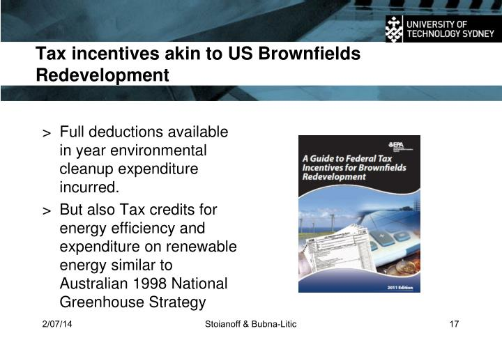Tax incentives akin to US Brownfields Redevelopment