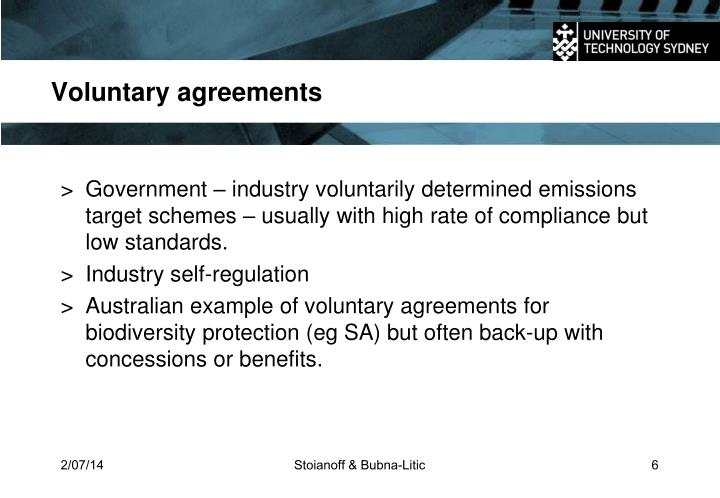 Voluntary agreements