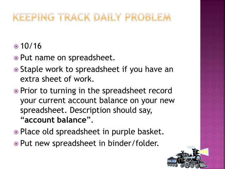 keeping track daily problem n.