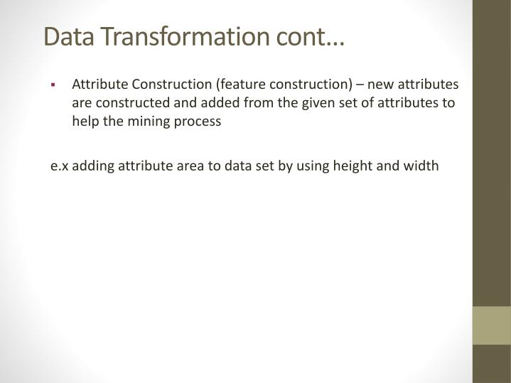 Data Transformation cont...