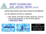 brief counseling ask advise refer cont d