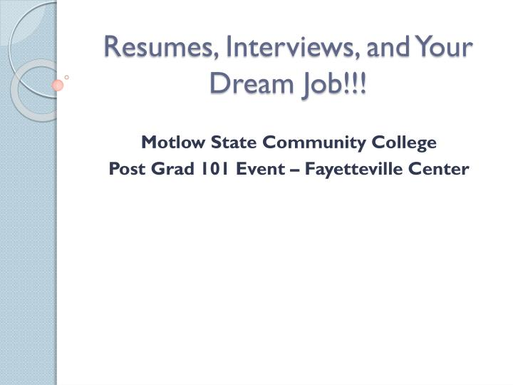 resumes interviews and your dream job n.