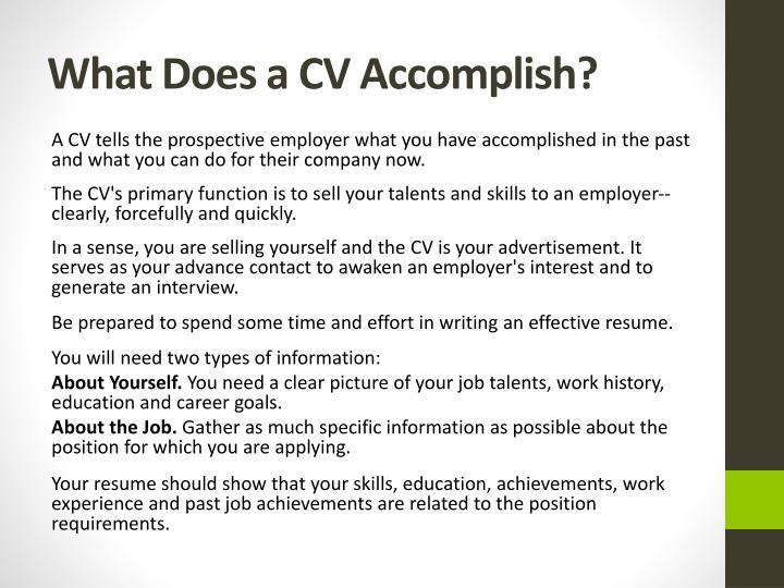 What does a cv accomplish