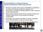 recommendation 1 potential programs bicycle and pedestrian safety improvements