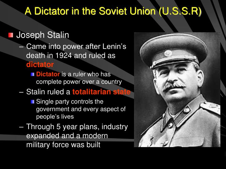 A dictator in the soviet union u s s r
