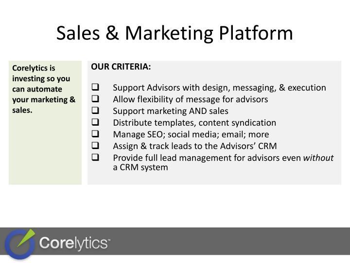 Sales marketing platform