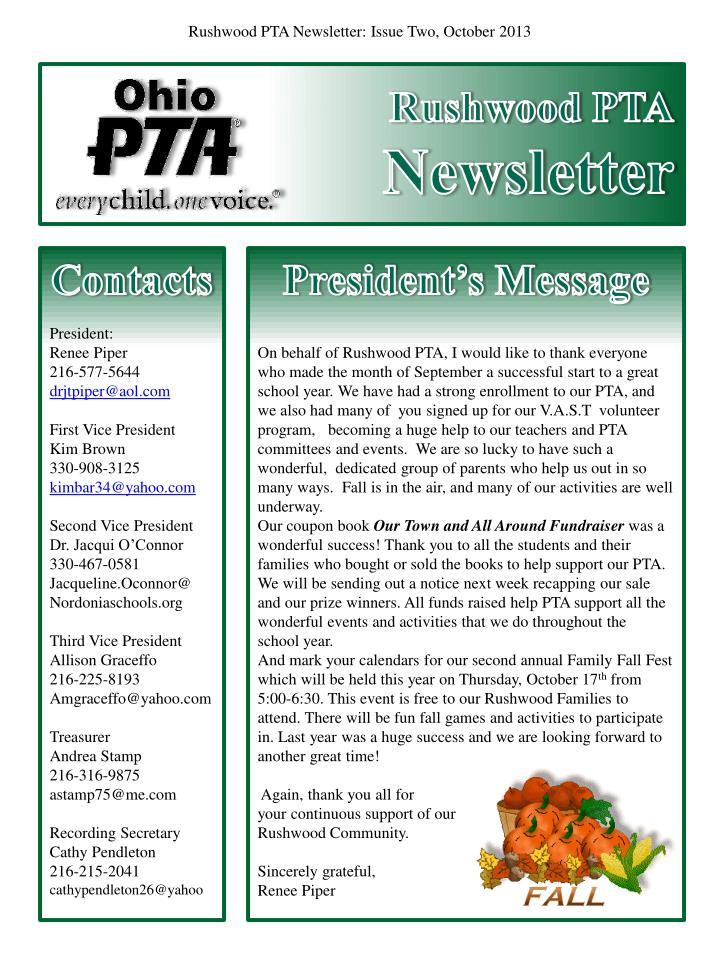 rushwood pta newsletter n.