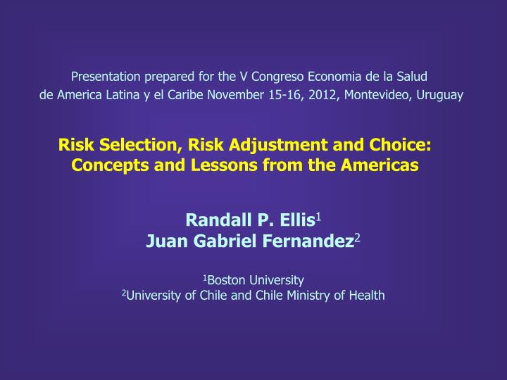 risk selection risk adjustment and choice concepts and lessons from the americas n.