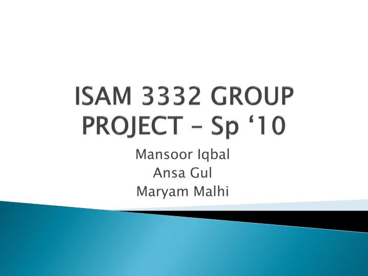 isam 3332 group project sp 10 n.