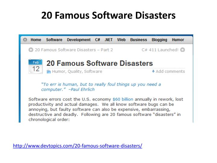 20 Famous Software Disasters