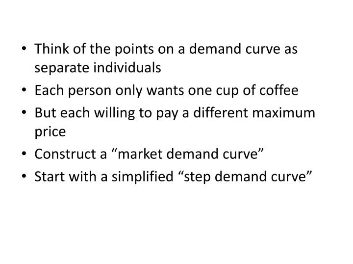 Think of the points on a demand curve as separate individuals