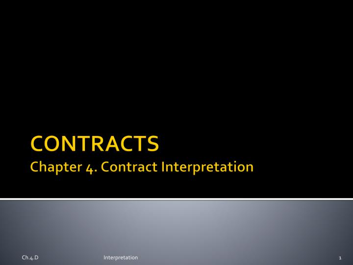 contracts chapter 4 contract interpretation n.