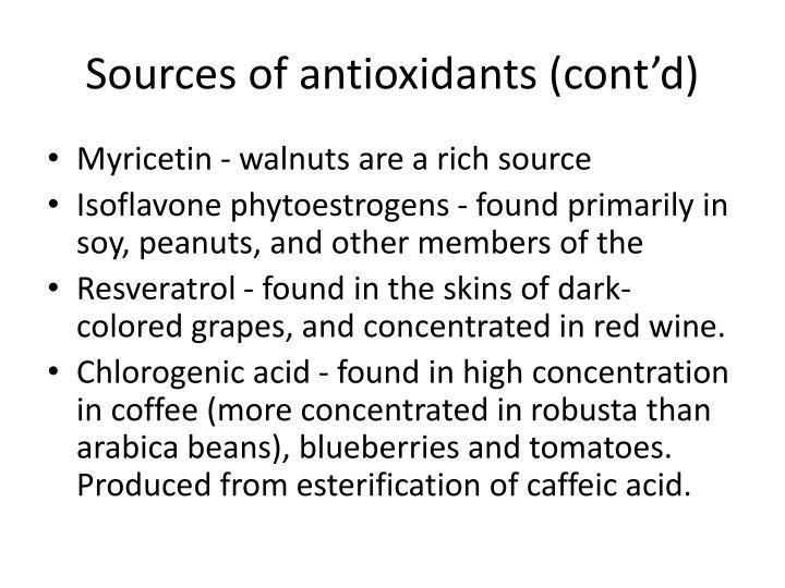 Sources of antioxidants (cont'd)