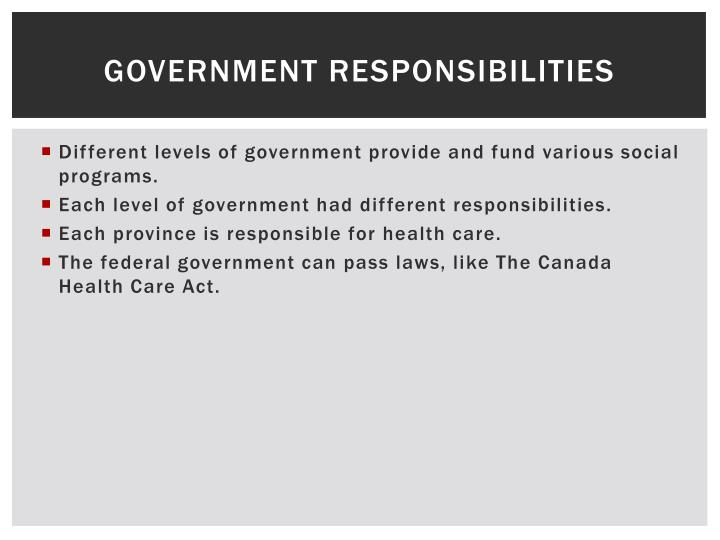 Government Responsibilities