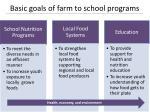 basic goals of farm to school programs
