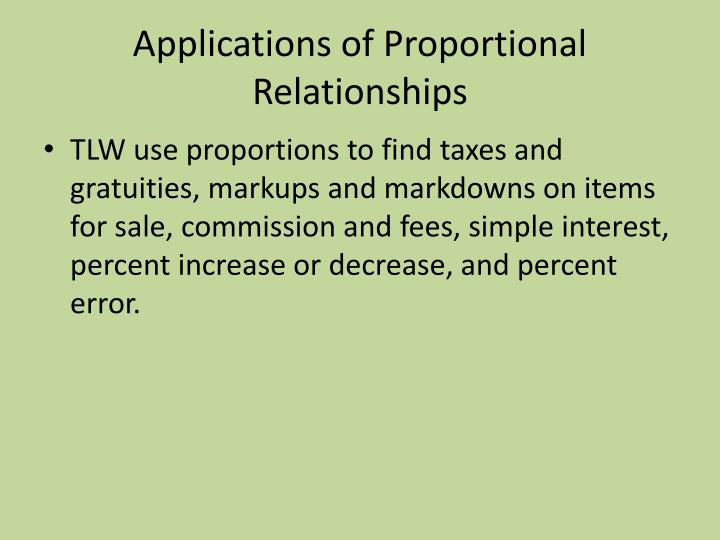 Applications of proportional relationships
