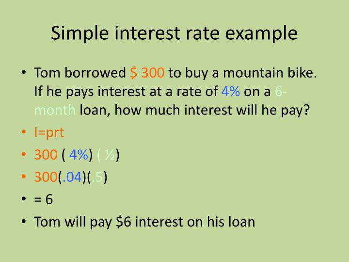 Simple interest rate example