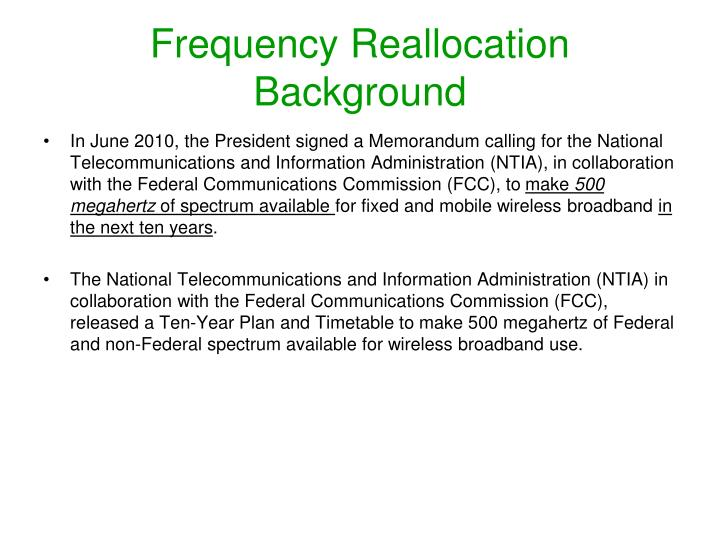 frequency reallocation background n.