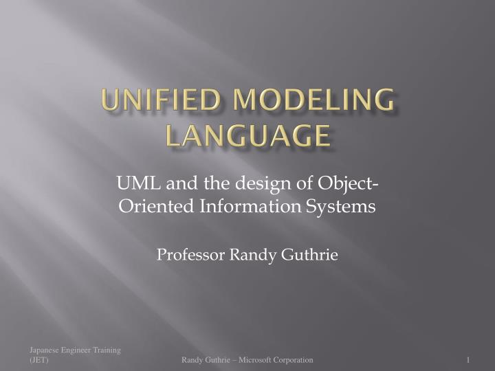 unified modeling language n.