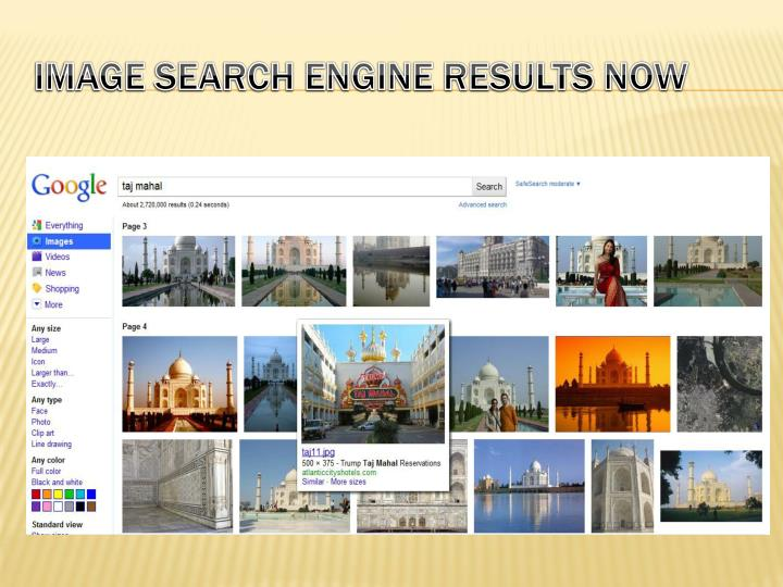 Image search engine results now
