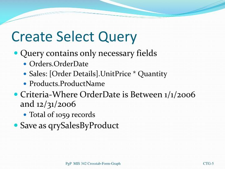 Create Select Query