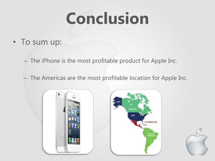 conclusion of apple company 1 company background: apple is an american multinational corporation that manufactures, designs, markets and sells mobile communication and media devices, digital music players, personal computers, consumer electronics and softwares and provides related services.
