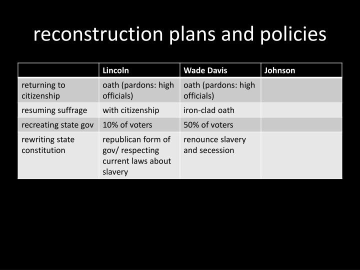 reconstruction plans and policies