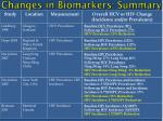 changes in biomarkers summary