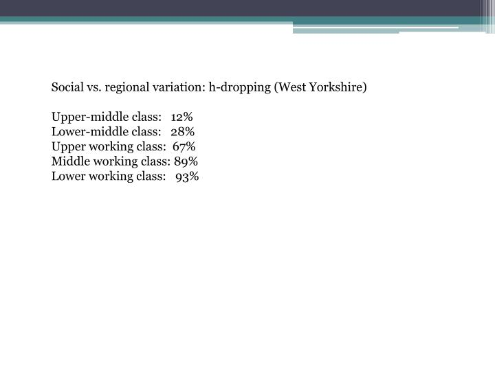 Social vs. regional variation: h-dropping (West Yorkshire)