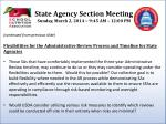 state agency section meeting sunday march 2 2014 9 45 am 12 00 pm3